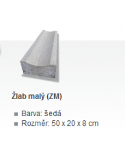 SE-Žlab malý šedý 50x20x8-2,5cm semmelrock